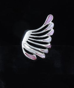 Pink Mother Of Pearl Inlayed Fan Ring