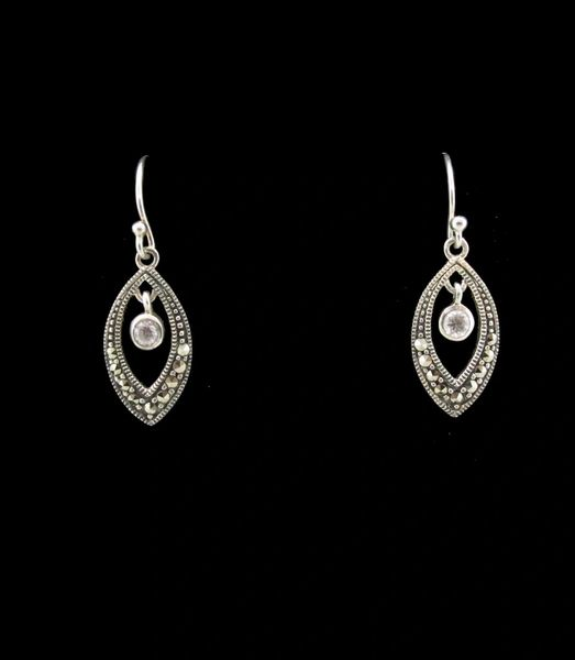 Marcasite Oval Dangle Earrings
