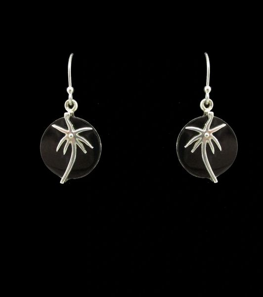 Onyx Palm Tree Round Earrings