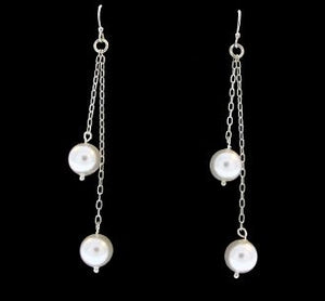 White Synthetic Pearl Dangle Earrings