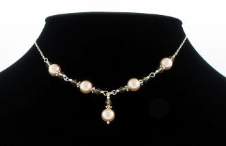 Synthetic Pearl and Smoky Quartz Necklace