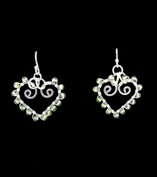Peridot Heart Shaped Dangle Earrings