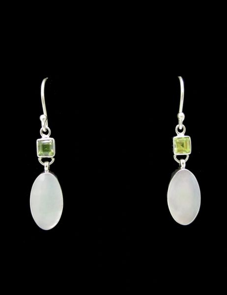 Peridot and Mother of Pearl Dangle Earrings