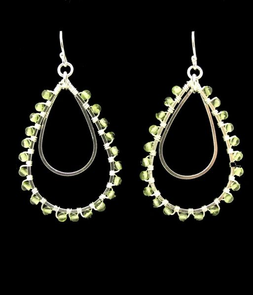 Peridot Tear Drop Shaped Dangle Earrings