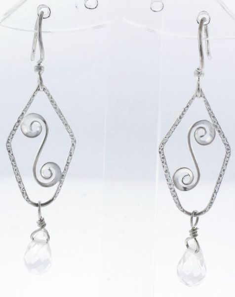 Silver Spirals Earring With Clear CZ Bead