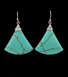 Turquoise Triangle Dangle Earrings