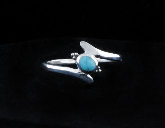 Sterling Silver Curved Band with Turquoise Oval