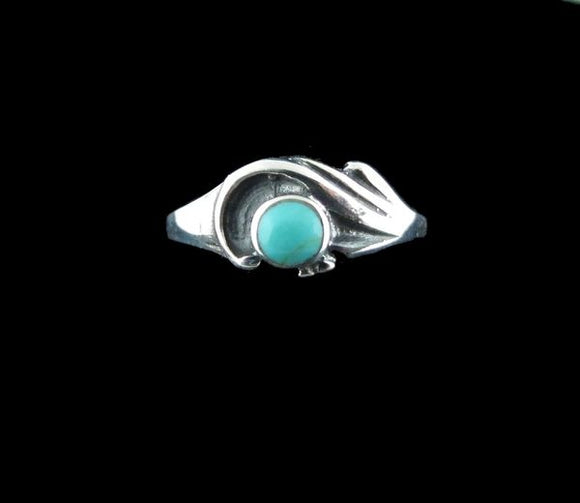 Turquoise Inlay with Batine Detail on Band Ring