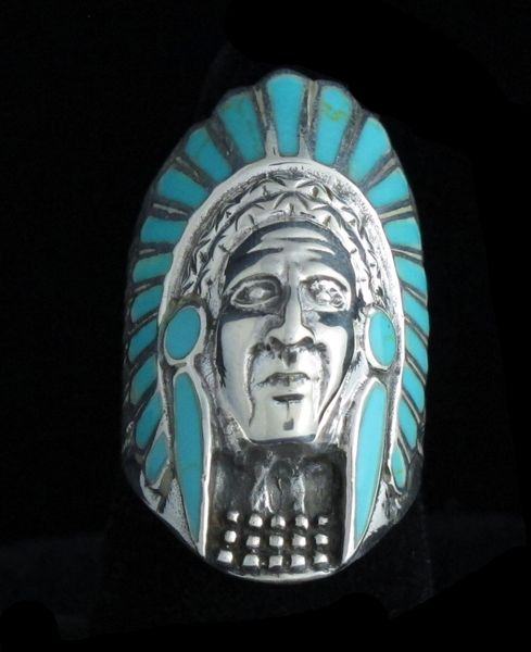 Turquoise Inlayed Chief Ring