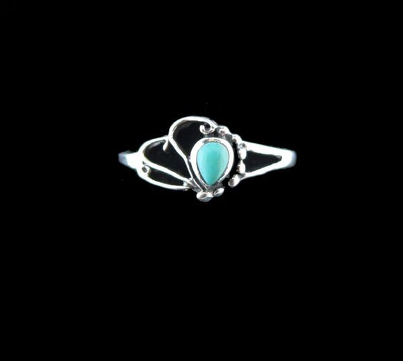 Oval with Flair Turquoise Inlayed Ring