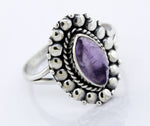 Marquise Shaped Vibrant Amethyst Stone Ring
