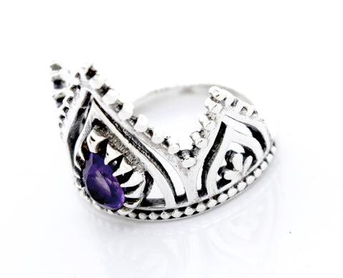 Silver Crown Ring With Teardrop Shape Amethyst