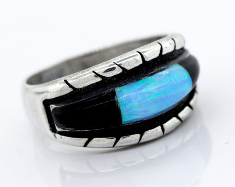 American Made Blue Opal And Onyx Ring
