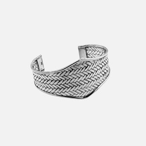 Wide Diamond Shaped Cuff Bracelet with Woven Pattern