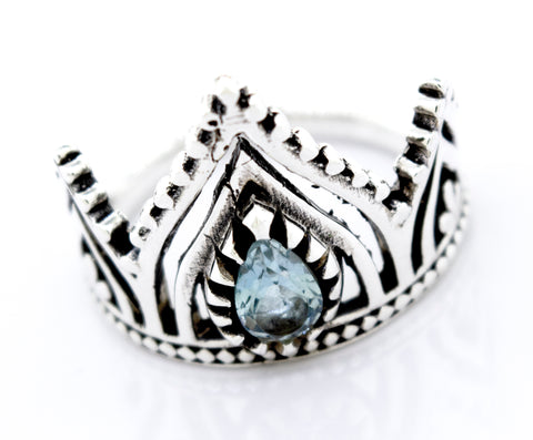 Silver Crown Ring With Teardrop Shape Blue Topaz