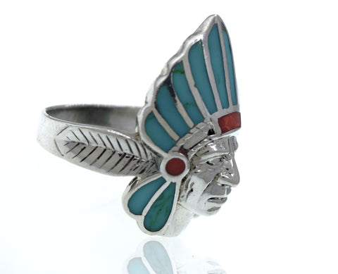 Turquoise And Coral Chief Head Ring