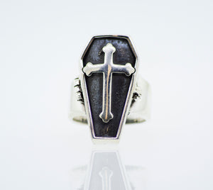 Coffin and Cross Silver Ring