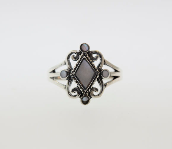 White Mother of Pearl Diamond Shape Ring