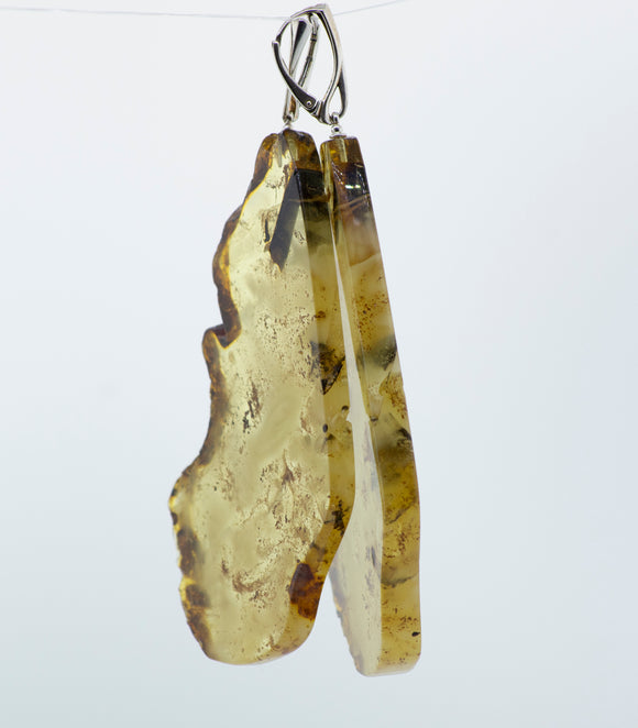 Designer Raw Cognac Amber Slab Earrings