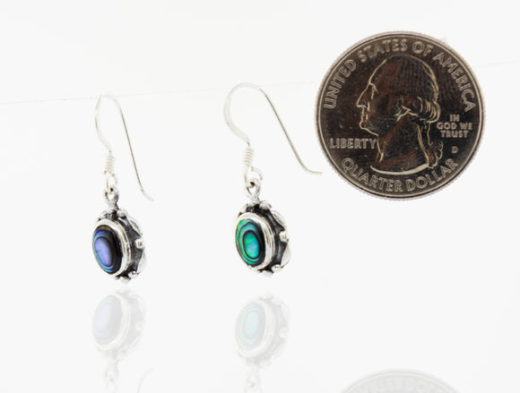 Silver Dangle Earrings with Oval Stone
