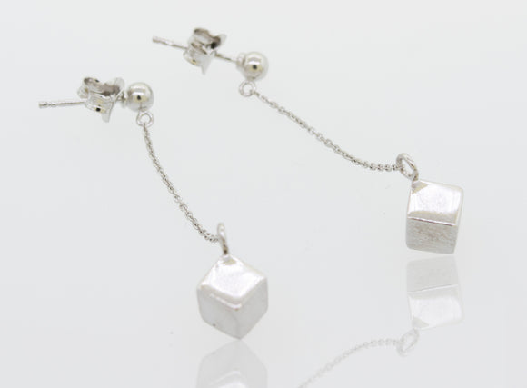 Silver Dangle Earrings with a Solid Cube
