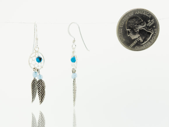 Turquoise Dreamcatcher Dangle Earrings with Feathers