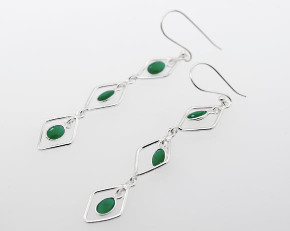 Wire Diamond Earrings with Emerald