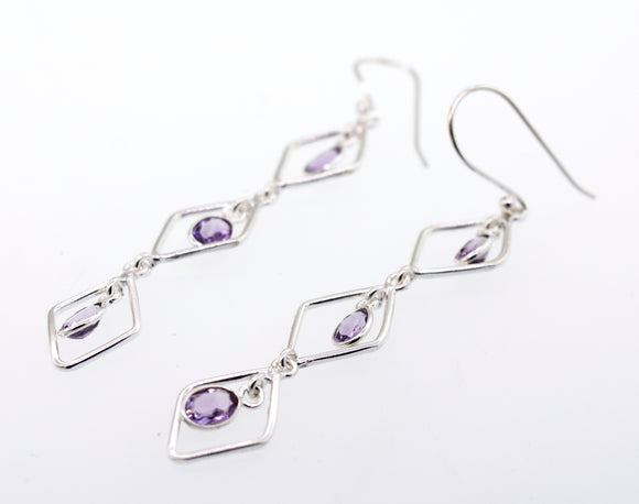 Wire Diamond Earrings with Amethyst