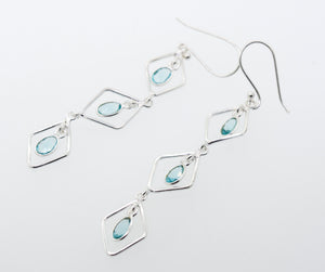 Wire Diamond Earrings with Blue Topaz