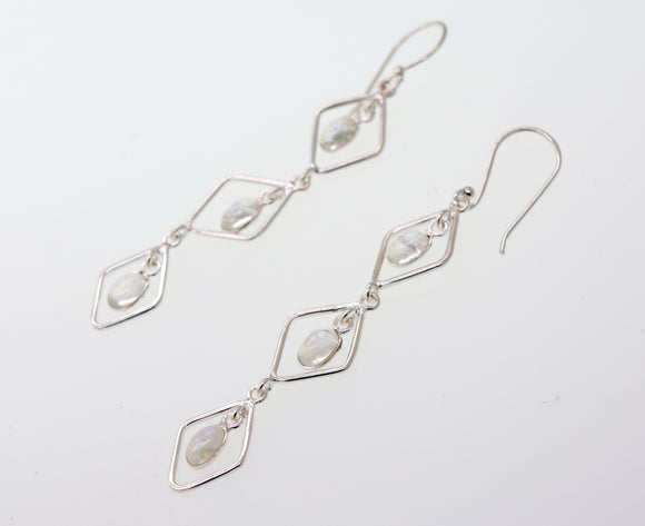 Wire Diamond Earrings with Moonstone