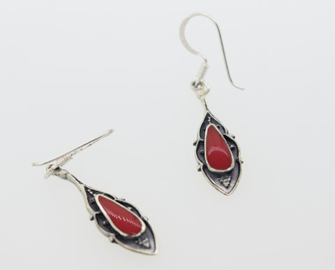 Teardrop Shape Coral Earrings