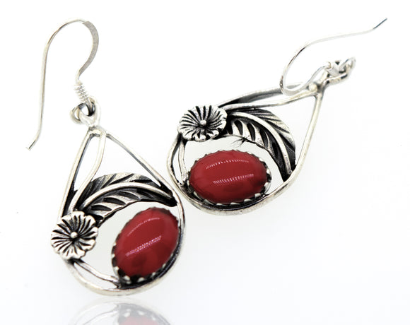 Red Coral Teardrop Earrings With Floral Setting