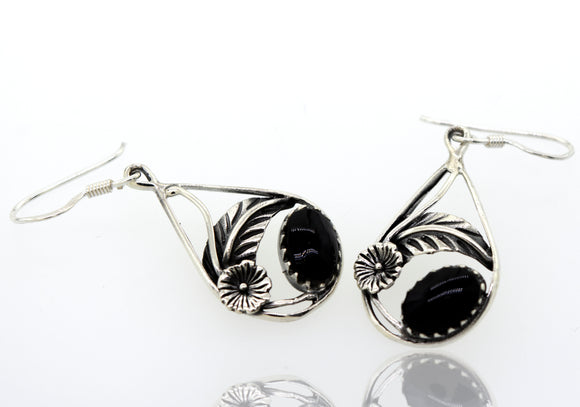 Onyx Teardrop Earrings With Floral Setting