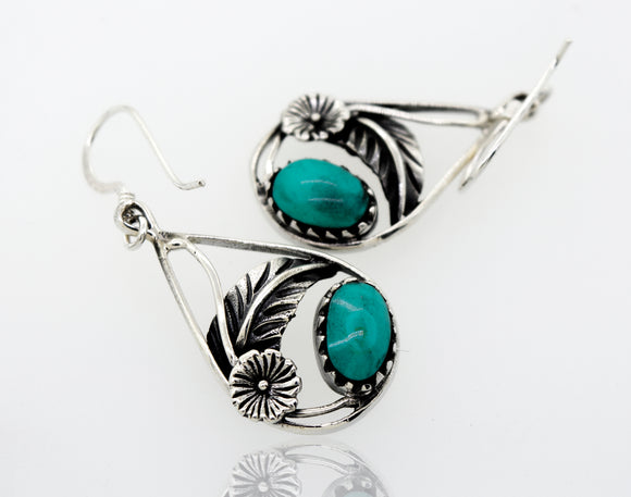 Turquoise Teardrop Earrings With Floral Setting