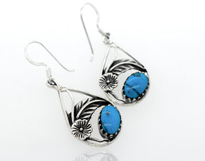 Blue Turquoise Teardrop Earrings With Floral Setting
