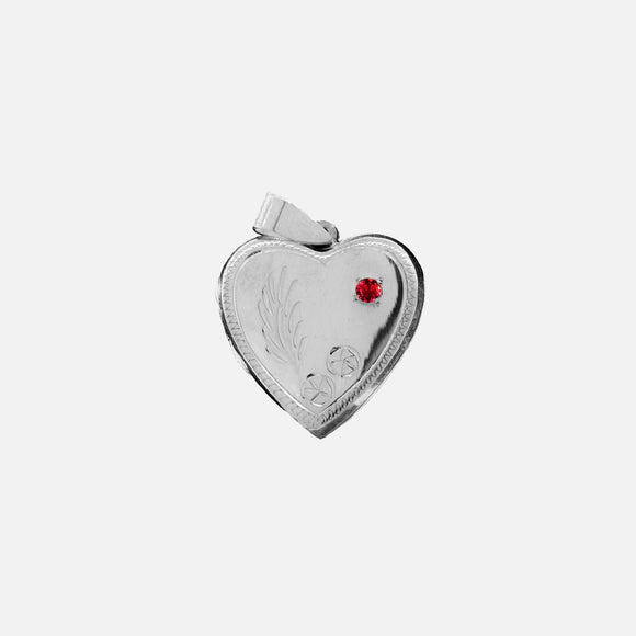 Heart Shaped Locket with Magenta Cubic Zirconia