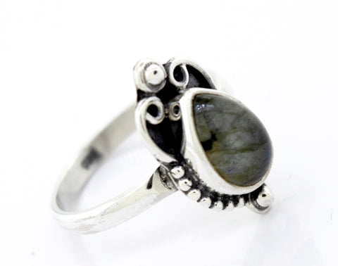 Teardrop Shape Labradorite Ring