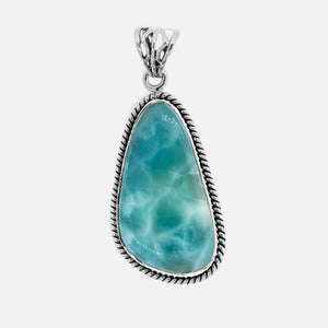 Medium Larimar Pendant with Rope Border