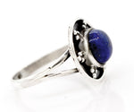 Lapis Ring With Unique Oxidized Silver Design