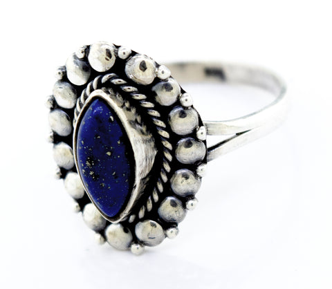 Marquise Shaped Vibrant Lapis Ring