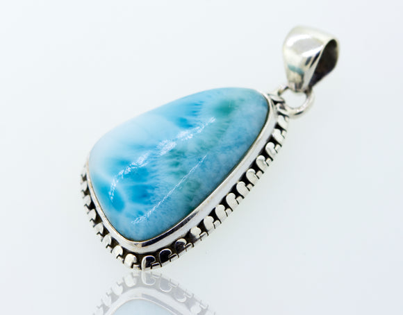 Medium Larimar Pendant with Ball Border