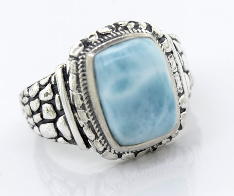 Heavy Larimar Ring With Dragon Scale Pattern