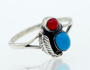 Blue Turquoise and Coral Feather Ring