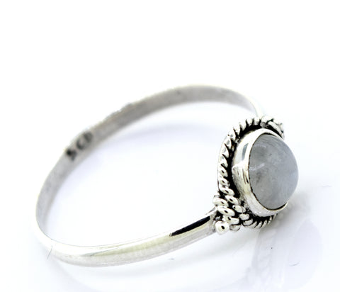Simple Round Moonstone Ring With Rope Border