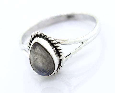Vibrant Teardrop Shape Moonstone Ring
