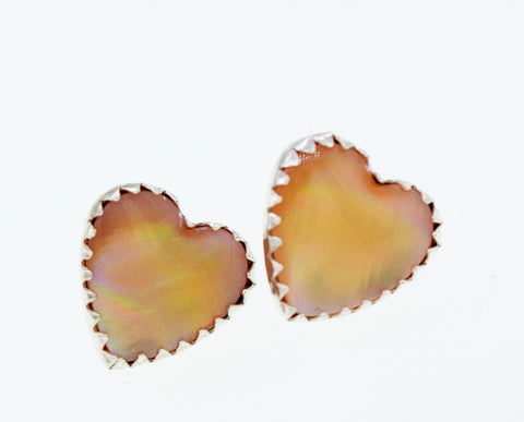American Made Mother of Pearl Heart Stud Earrings