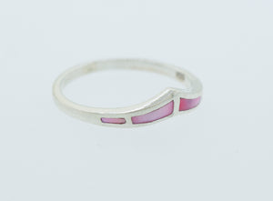 Pink Mother of Pearl Chevron Ring