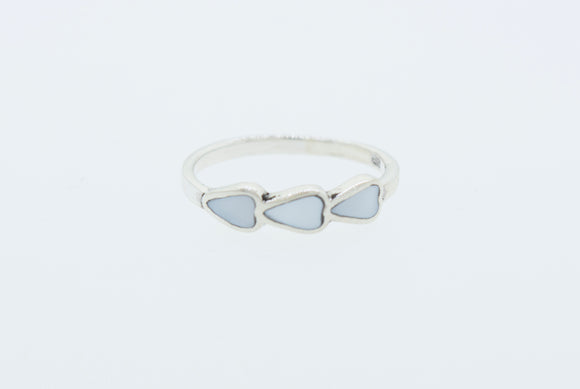 Three Hearts Mother of Pearl Ring