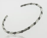 Native American Handmade Thin Silver Twist Cuff