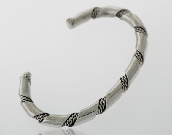 Native American Handmade Thick Silver Twist Cuff